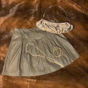 EDUN Brown/Olive Leather Skirt